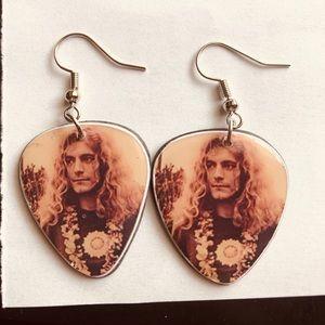 VINTAGE ROBERT PLANT record guitar pic earrings